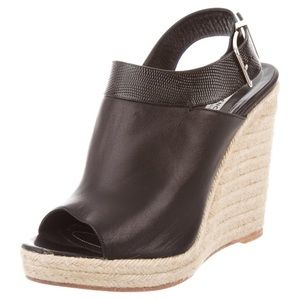 Balenciaga  Black leather espadrille wedges
